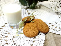 Oatmeal cookies with milk Stock Photos
