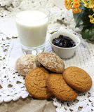 Oatmeal cookies with milk Royalty Free Stock Image
