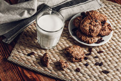 Oatmeal Cookies with Milk Stock Image