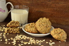 Oatmeal cookies with milk Stock Images