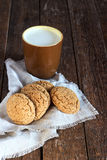 Oatmeal cookies with milk Royalty Free Stock Images