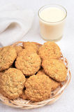 Oatmeal cookies and milkshake in glass Royalty Free Stock Photography