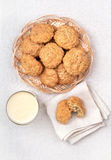 Oatmeal cookies and milkshake, top view Royalty Free Stock Images
