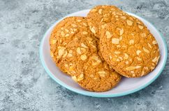Oatmeal cookies with nuts stock photography