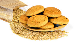 Oatmeal cookies and oat flakes. Stock Photo