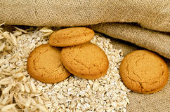 Oatmeal cookies with oatmeal on sacking Stock Image