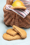 Oatmeal cookies and a picnic basket Royalty Free Stock Photography