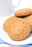 Oatmeal cookies on a plate and cup of milk, close-up Stock Images