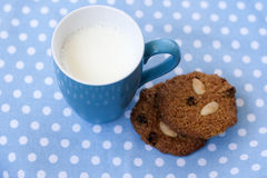 Oatmeal cookies with raisin and almond and milk Stock Image