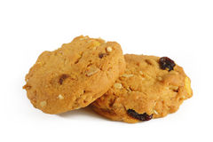 Oatmeal cookies with raisin on white Royalty Free Stock Photos