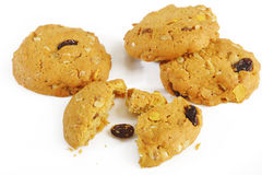 Oatmeal cookies with raisin on white Stock Photo