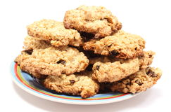 Oatmeal cookies with raisins on colorful plate Royalty Free Stock Photo