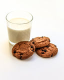 Oatmeal cookies with raisins a glass of milk Stock Image