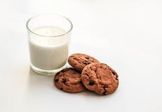 Oatmeal cookies with raisins a glass of milk Stock Photography