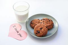 Oatmeal cookies with raisins. a note from a loved stock images