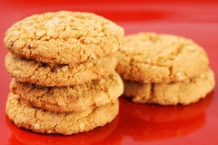 Oatmeal cookies on red plate Royalty Free Stock Photo