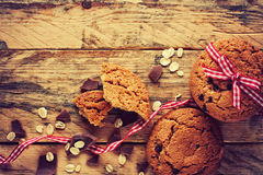 Oatmeal cookies, ribbon and chocolate chip Stock Photo
