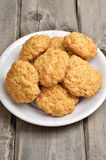 Oatmeal cookies on rustic table Royalty Free Stock Images