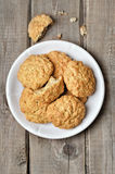 Oatmeal cookies on rustic table Stock Image