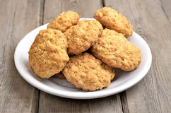 Oatmeal cookies on rustic table Royalty Free Stock Photo