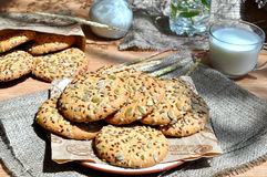 Oatmeal cookies with seeds Stock Photo