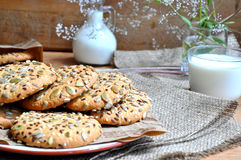 Oatmeal cookies with seeds Stock Image