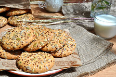 Oatmeal cookies with seeds Stock Photos