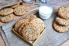 Oatmeal cookies with seeds Royalty Free Stock Photography