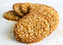 Oatmeal cookies with sesame seeds Stock Image