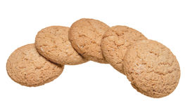 Oatmeal cookies. Some oatmeal cookies isolated on white background Stock Photos