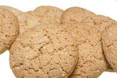 Oatmeal cookies. Some oatmeal cookies isolated on white background Stock Photo