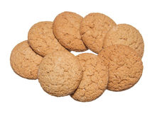 Oatmeal cookies. Some oatmeal cookies isolated on white background Royalty Free Stock Photo