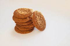 Oatmeal cookies. In the stack on a white background stock photos