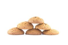 Oatmeal cookies stacked pyramid. On the white background Stock Photo