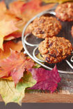 Oatmeal cookies  on a table covered with autumn lea Stock Images