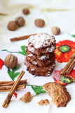 Oatmeal cookies with walnuts and cinnamon Stock Photos