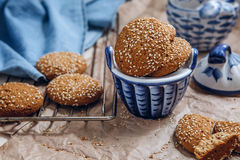 Free Oatmeal Cookies With Sesame Seeds. Stock Images - 61522634