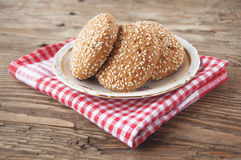 Oatmeal cookies on a wooden background Royalty Free Stock Photos
