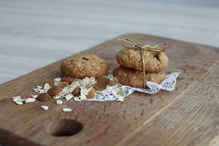 Oatmeal cookies on the wooden board Stock Photos