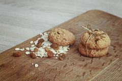 Oatmeal cookies on the wooden board Royalty Free Stock Image
