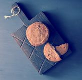 Oatmeal cookies on a wooden rustic Board Royalty Free Stock Image