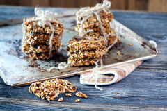 Oatmeal cookies. On the wooden table Royalty Free Stock Photo