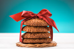Oatmeal cookies on wooden table Stock Photos