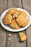 Oatmeal cookies on wooden table Royalty Free Stock Photos
