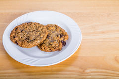 Oatmeal Cranberry Cookies on a Plate Stock Images