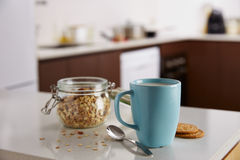 Oatmeal with cup of milk Royalty Free Stock Photo