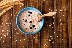 Oatmeal with currant in blue bowl with spoon Royalty Free Stock Photography