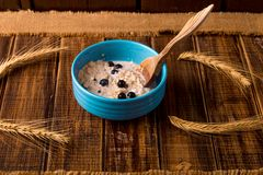 Oatmeal with currant in blue bowl with spoon Royalty Free Stock Images