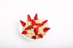 Oatmeal with Cut Stawberries Stock Photography
