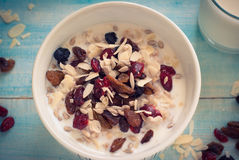 Oatmeal with dried fruit. Royalty Free Stock Images
